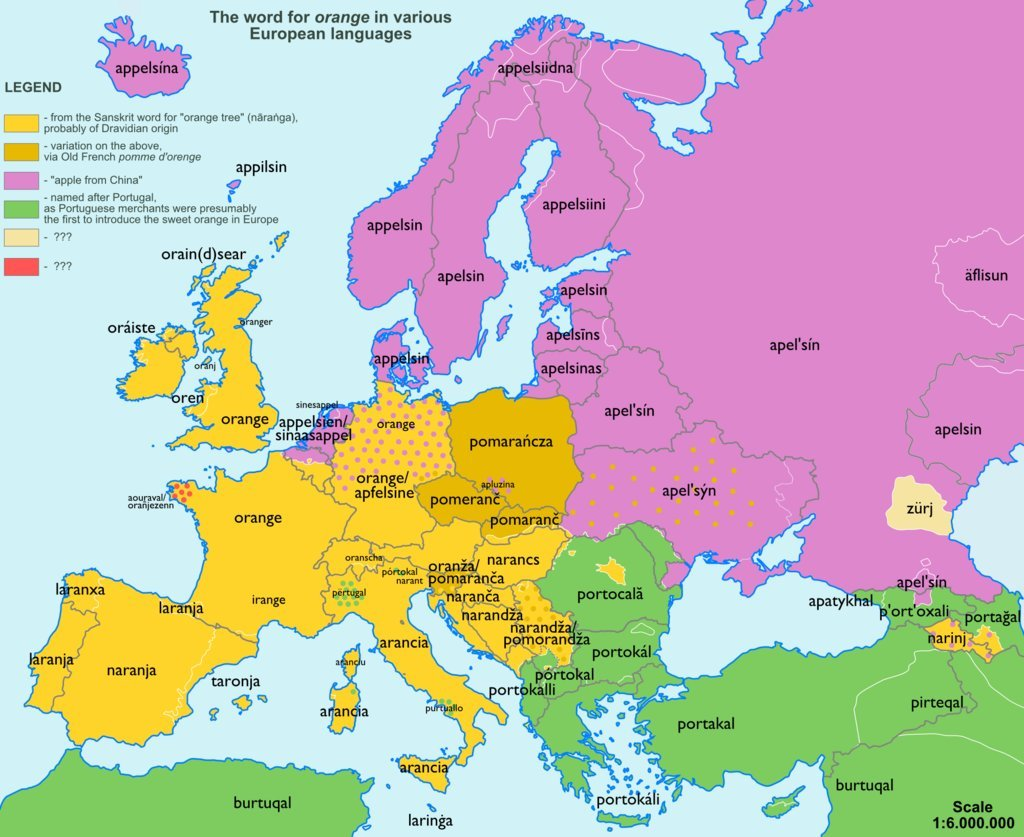 The word Orange in other lanuages of Europe